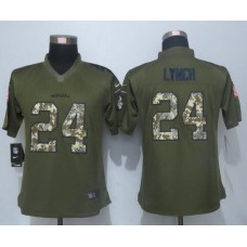 2016 Women New Nike Seattle Seahawks 24 Lynch Green Salute To Service Limited Jersey