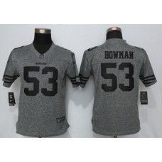 2016 Women Nike San Francisco 49ers 53 Bowman Gray Stitched Gridiron Gray Limited Jersey