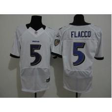 Baltimore Ravens 5 Flacco White Nike Elite Jersey