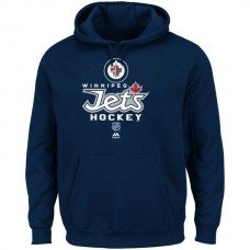 2016 NHL Majestic Winnipeg Jets Critical Victory Pullover Hoodie Sweatshirt - Navy Blue