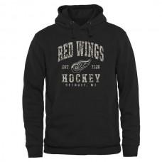 2016 NHL Men Detroit Red Wings Black Camo Stack Pullover Hoodie