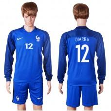 2016 European Cup France home long sleeve 12 Diarra Blue Soccer Jersey