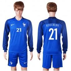 2016 European Cup France home long sleeve 21 Koscielny Blue Soccer Jersey