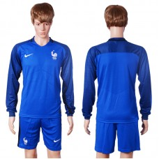2016 European Cup France home long sleeve Blnak Blue Soccer Jersey