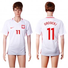 2016 European Cup Poland home 11 GROSICKI White AAA+ Soccer Jersey