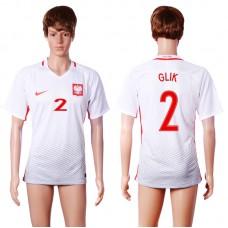 2016 European Cup Poland home 2 GLIK White AAA+ Soccer Jersey