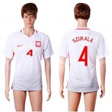 2016 European Cup Poland home 4 SZUKALA White AAA+ Soccer Jersey