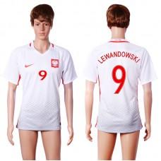 2016 European Cup Poland home 9 LEWANDOWSKI White AAA+ Soccer Jersey