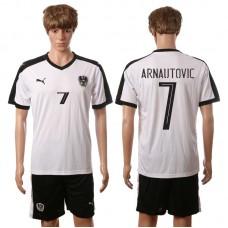 European Cup 2016 Austria away 7 Arnautovic white soccer jerseys