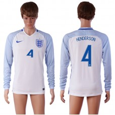 European Cup 2016 England 4 HENDERSON Home White long sleeve AAA+ Soccer Jersey