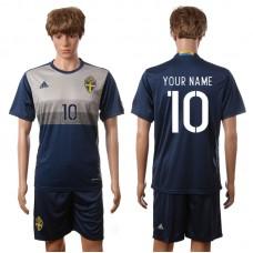 European Cup 2016 Sweden away blue Custom soccer jerseys