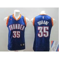 NBA Oklahoma City Thunder 35 Kevin Durant Navy Blue Crazy Light Swingman With player signed Jersey