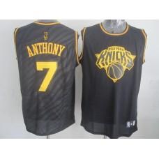 NBA New York Knicks 7 Carmelo Anthony Black Precious Metals Fashion Swingman